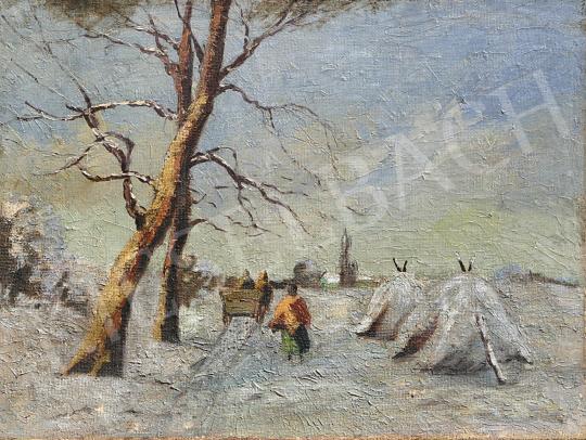Eladó  Burchard Bélaváry István - Havas tájkép festménye