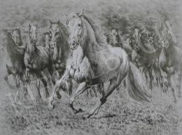Ismeretlen festő - Szürke ló