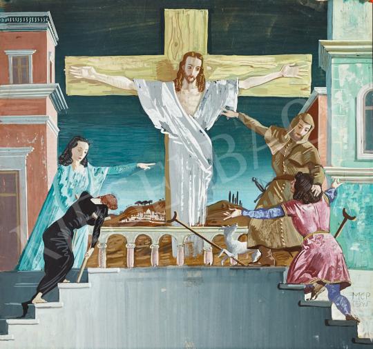 Molnár C. Pál - Krisztus a kereszten, 1945 festménye