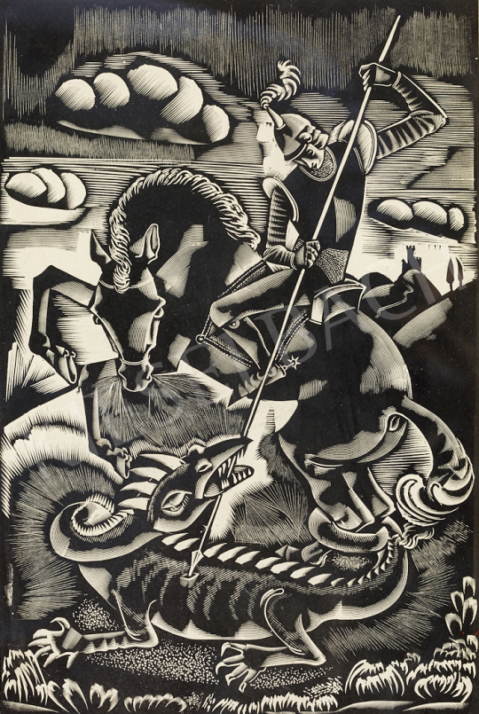 Molnár C. Pál - Sárkányölő festménye