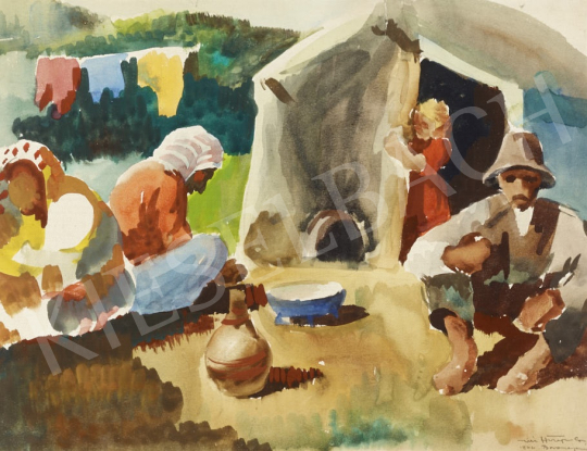 For sale  Hiripi, Gyula - In front of a Tent, 1944 's painting