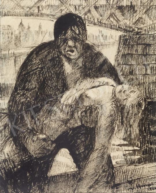 Eladó  Hiripi Gyula - Életmentő, 1944 festménye