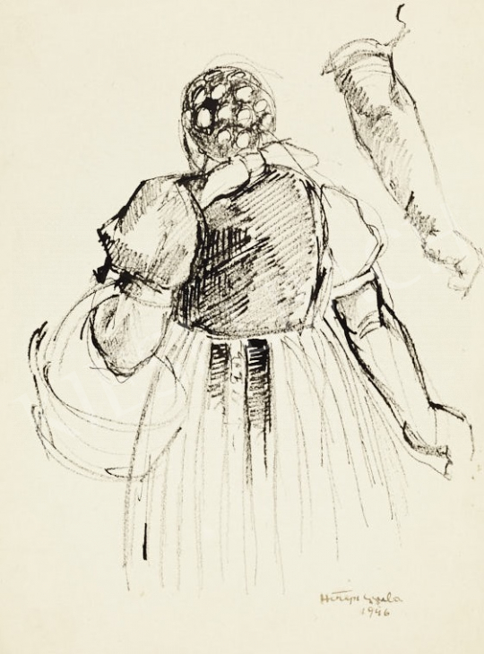 For sale  Hiripi, Gyula - Woman with a Basket and Study of a Hand 's painting