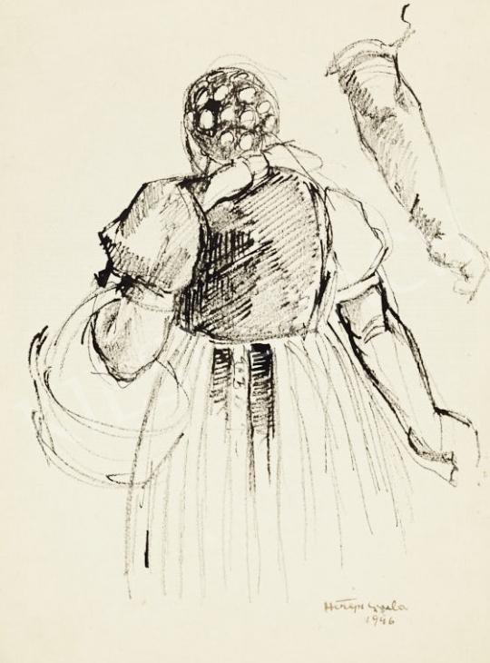 Eladó  Hiripi Gyula - Vázlatfüzetlap: Asszony kosárral és kar-tanulmány, 1946 festménye