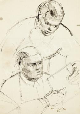 Hiripi Gyula - Vázlatfüzetlap: Két férfi, 1946
