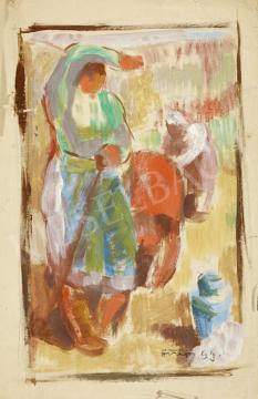 Eladó  Hiripi Gyula - Színvázlat a Kapálók a mezőn című képhez festménye