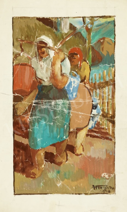 Hiripi Gyula - Vízhordó lányok (vázlat), 1946