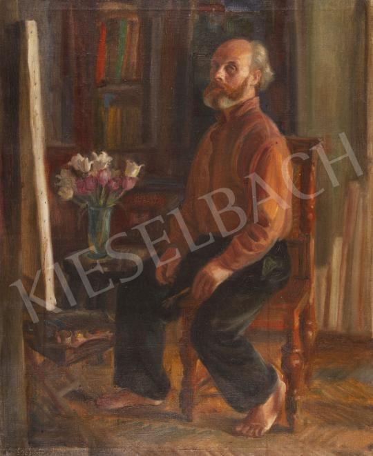 Eladó  Szabó Vladimir - Önarckép műteremben virágcsokorral festménye