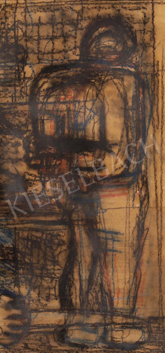 Hincz Gyula - Falnál álló festménye