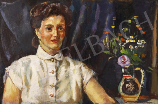 For sale Mattioni, Eszter (Hollósné, Hollós Mattioni E - Lady with a Bouquet of Flowers 's painting