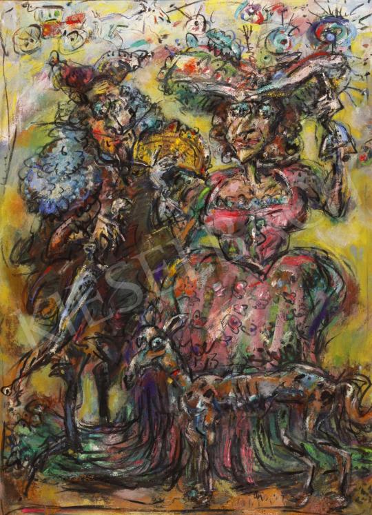 Eladó  Tóth Ernő - Vörös postakocsi II., 2004 festménye