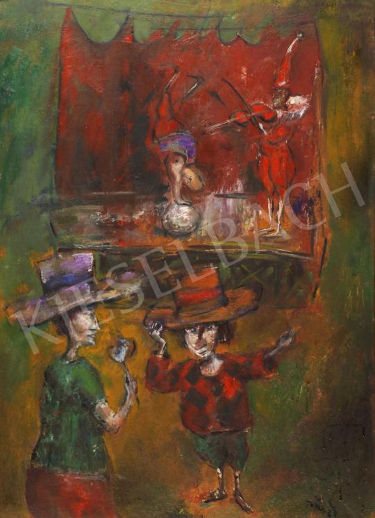 Tóth Ernő - Cirkuszi jelenet, 1987 festménye