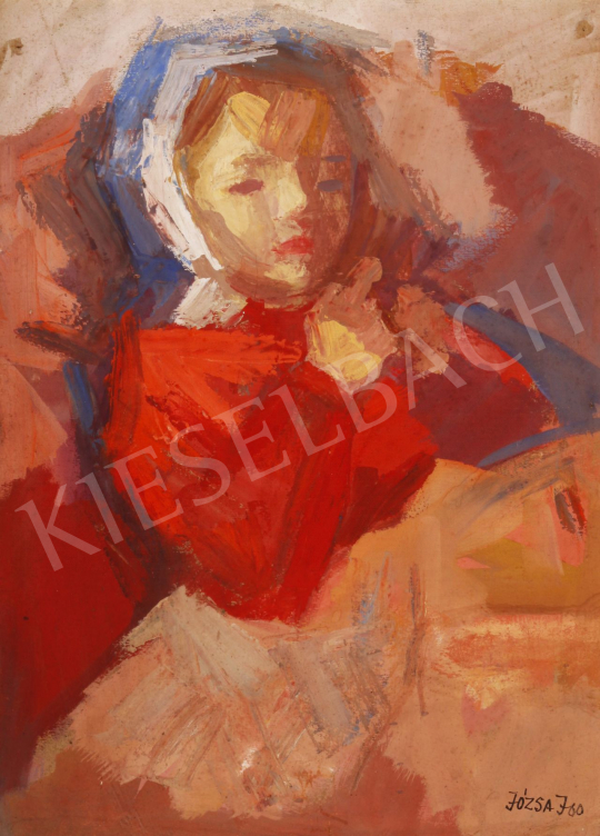 For sale  Józsa, János - Little Girl in Red Skirt and a Blue Kerchief, 1960 's painting