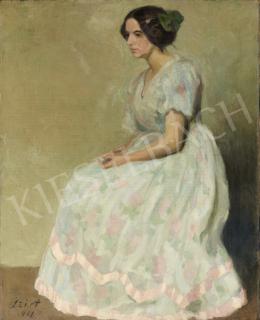 Szirt Oszkár - Hölgy rózsaszín csíkos ruhában, 1911