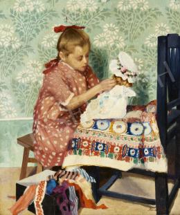 Romek Árpád - Pöttyös ruhás kislány babával, 1910-es évek