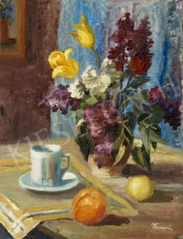 Ismeretlen festő olvashatatlan jelzéssel - Virágcsendélet bögrével, naranccsal, citrommal