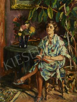 Ismeretlen festő - Virágos ruhás hölgy