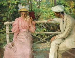 Vaszary, János - Courtship (Lovers with Racket), c. 1895.