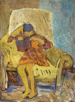 Unknown painter - Learning Girl in a Yellow Armchair