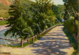 Ismeretlen festő Mikes jelzéssel - Folyópart fákkal, 1917