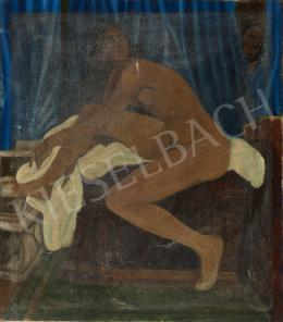 Ismeretlen festő - Félig felhúzott lábbal ülő akt