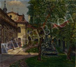 Ismeretlen magyar festő Pálinkás jelzéssel - Napfényes belső udvar