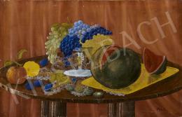 Ismeretlen naiv festő Bán I. jelzéssel, 1935 körül - Őszi bőség a biedermeier asztalon