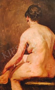Molnár József - Ülő női akt, 19. század harmadik harmada festménye