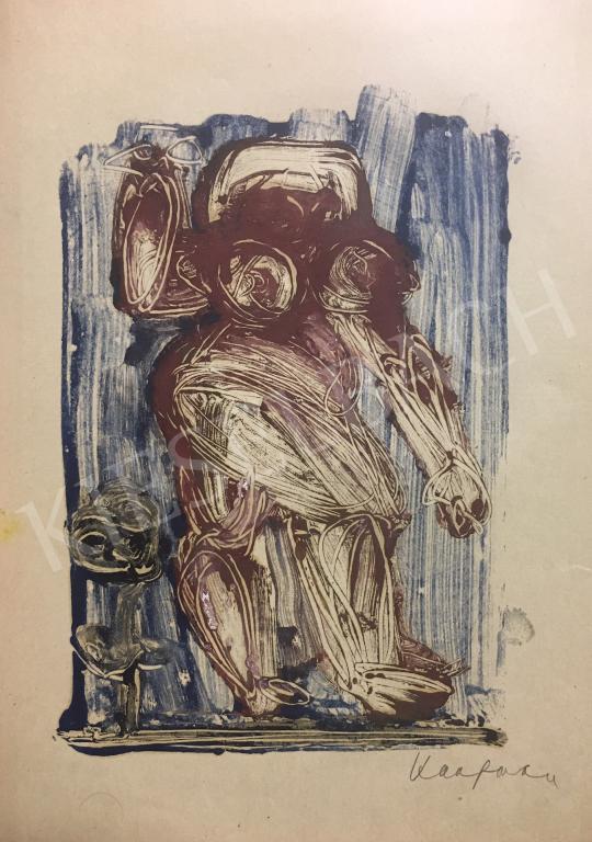 Eladó  Kaufmann Ágota - Alak kék háttér előtt festménye
