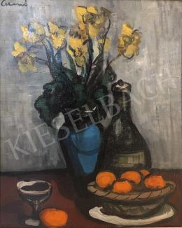 Csernó, Judit - Still Life of Flowers with Oranges