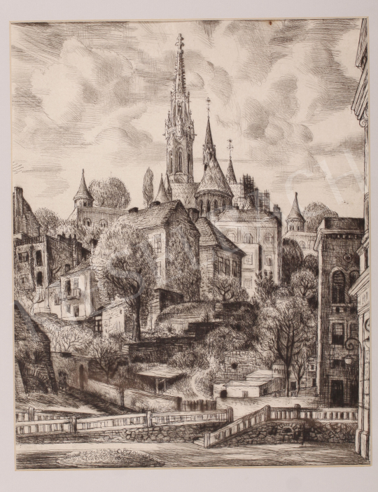 For sale  Szabó, Vladimir - Castle of Buda with the Matthias Church, 1962 's painting