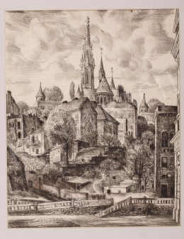 Szabó, Vladimir - Castle of Buda with the Matthias Church, 1962