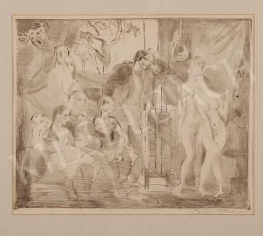 Szabó Vladimir - Műtermi gyakorlat aktokkal festménye