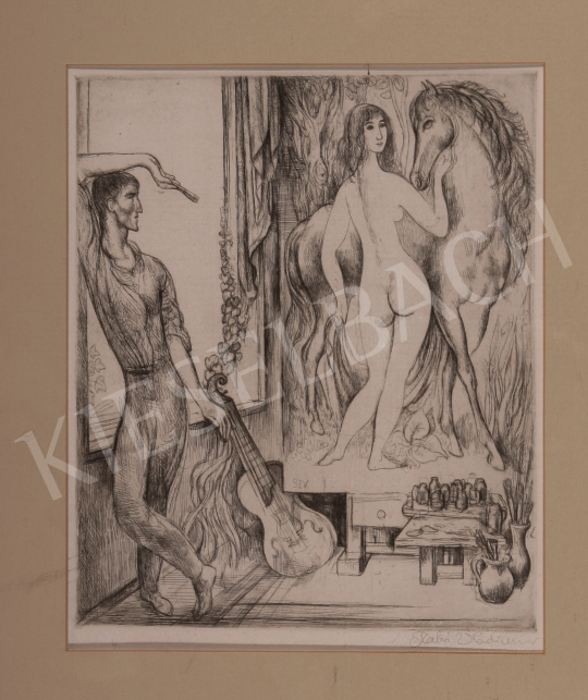 Eladó  Szabó Vladimir - Lovas akt képében gyönyörködő művész festménye