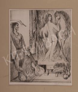 Szabó Vladimir - Lovas akt képében gyönyörködő művész
