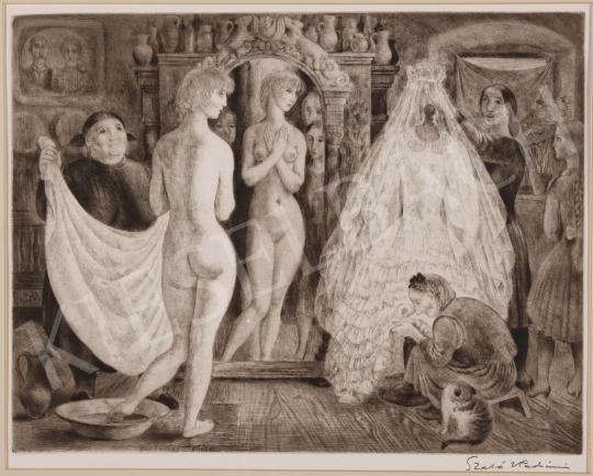 Eladó  Szabó Vladimir - Menyasszonyi ruhapróba festménye