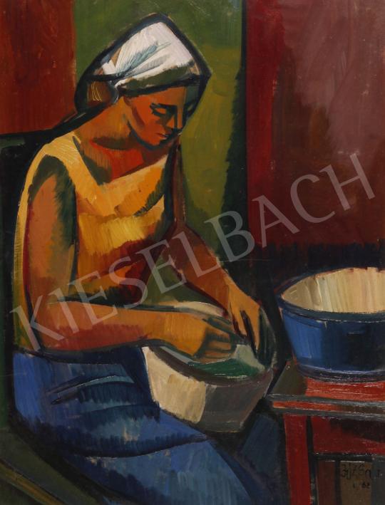 Eladó  Józsa János - Babfejtő, 1962 festménye