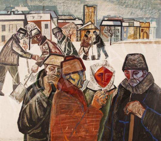 Eladó  Józsa János - Hólapátolók, 1963 festménye