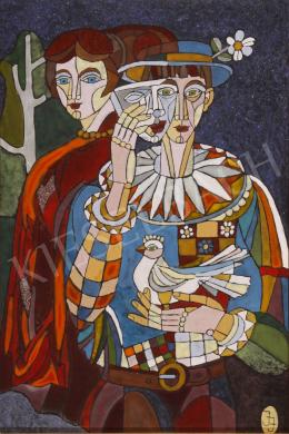 Józsa János - Álarcos férfi galambbal