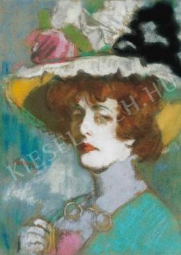 Rippl-Rónai József - Kunffyné virágos kalapban, 1907 körül