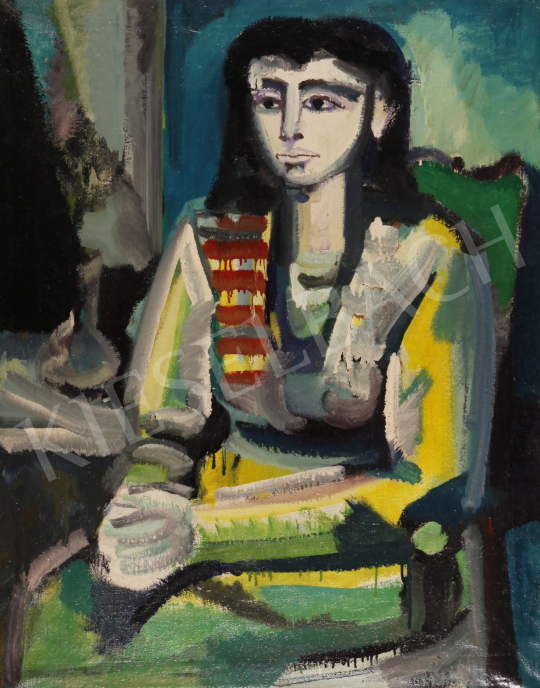 For sale  Józsa, János - Female Portrait (Hommage á Picasso) 's painting