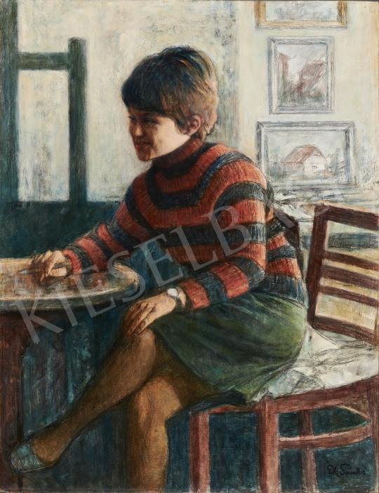 Eladó  Ék Sándor - Ági csíkos pulóverben festménye