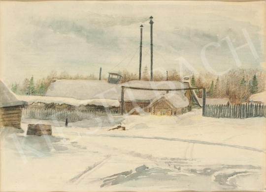 For sale  Ék, Sándor (Alex Keil) - Snowy Sawmill in Csuvasföld 's painting