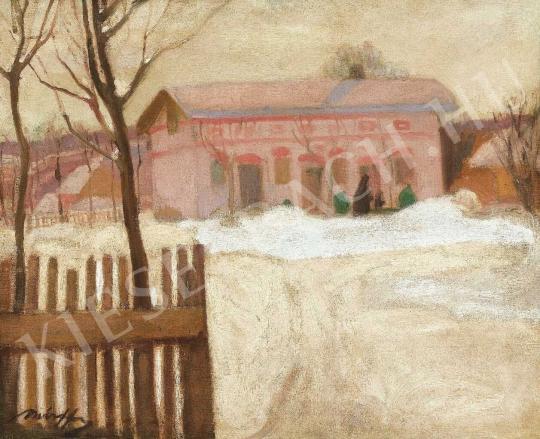 Márffy Ödön - Téli táj kerítéssel, 1907 körül festménye