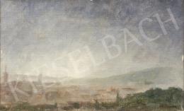 Ék Sándor - Kilátás a Rózsadomb tetejéről háttérben a Budai Várral