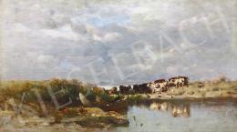 Mészöly Géza - Balatonpart halászcsónakkal, 1887