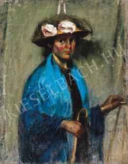 Koszta, József - Woman Wearing a Blue Shawl, 1918.