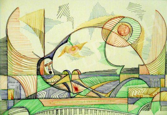 Eladó  Bartók Sándor - A kurtizán kárára, ahogy kitolul az iszonyatos ágyéki zörej a térben…, 1990 festménye