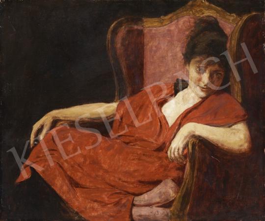 Glatter Ármin - Piros ruhás nő festménye