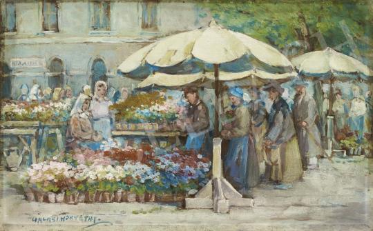 Eladó Halasi Horváth István - Virágpiac festménye
